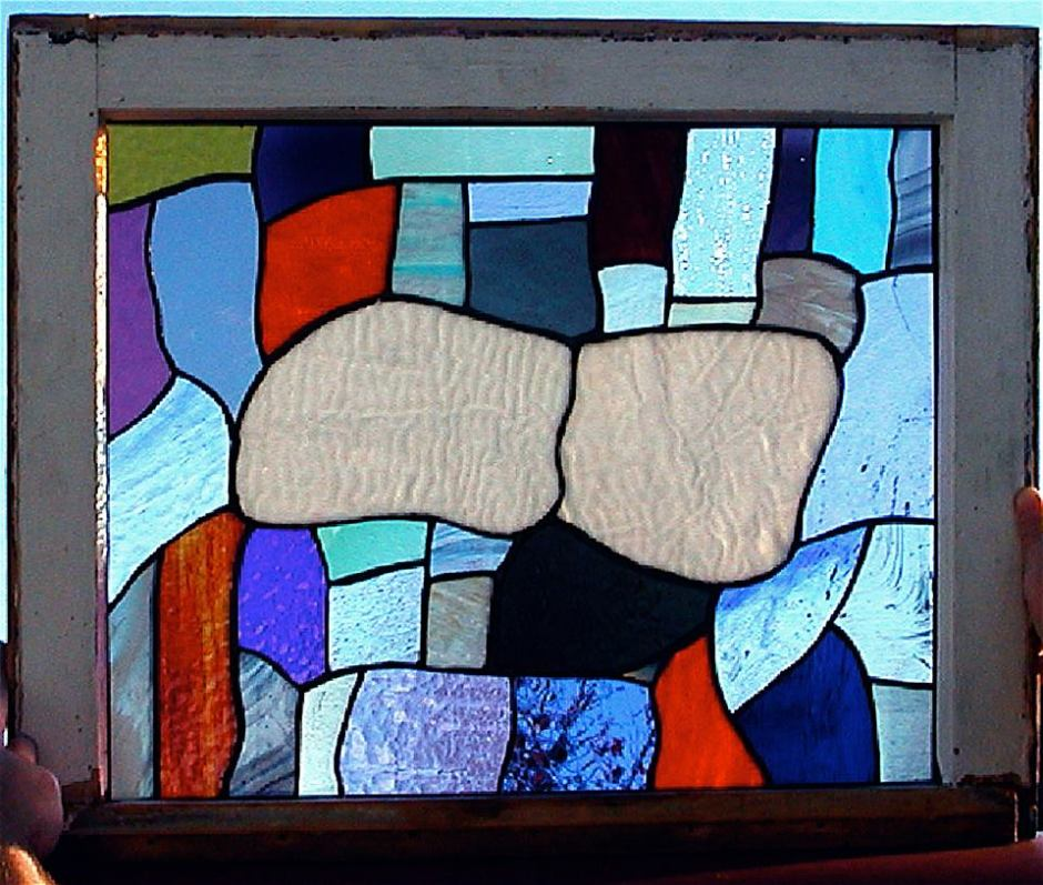 Stained glass window, abstract cloud design by Glenn Greene