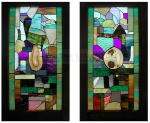 Set of two art glass windows with agate slices in center, created by Glenn Greene