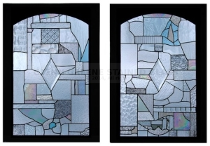 Set of two stained glass windows created by Glenn Greene