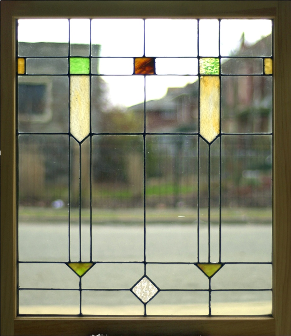 "Simple Leaded Glass Panel 30 1/8"" x 34 1/4"" $375"